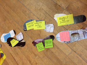 Cut-out footprints with notes attached