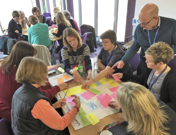 People gathered around tables adding post-it notes to flip chart pages