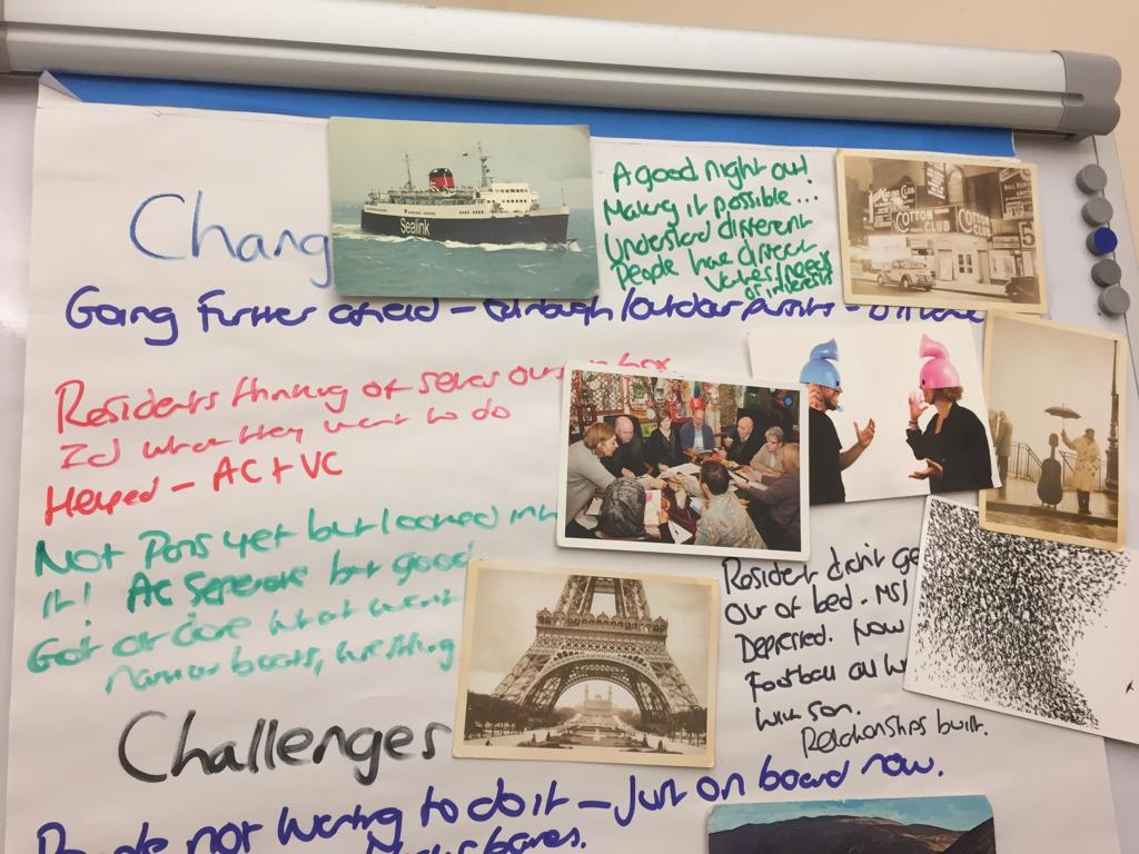 Ideas board with photos and writing
